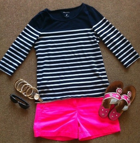 Loooove!!!!!! <3 great pink color shorts and with the navy blue & white stripe shirt completes the outfit.