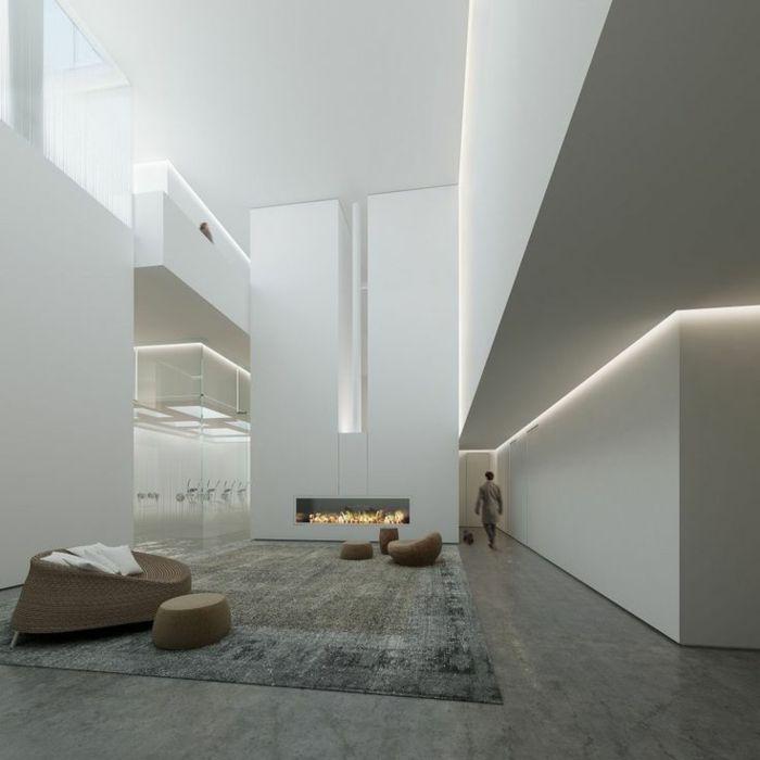 éclairage indirect salon d'esprit loft et interieur blanc