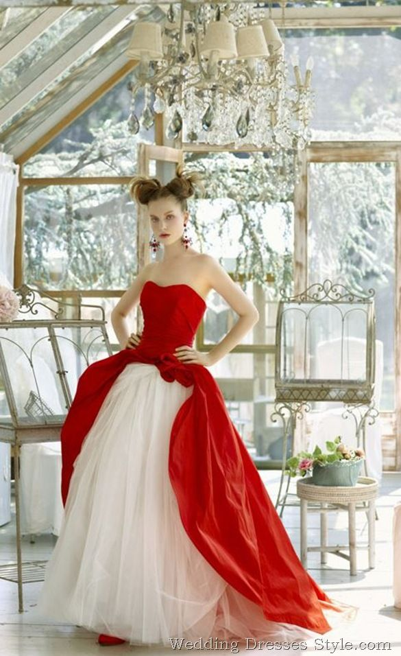 Cheap wedding dresses red and white christmas