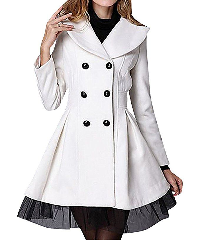 US&R, Women's Fitted Double Breasted Lace Decoration Wool Blend Trench Coat, White Medium Price: $99.99 Sale: $35.99