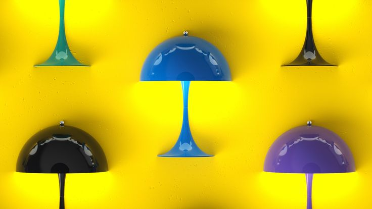 Here it's the Blue, Black & Purple version of Panthella MINI from our latest campaign video. Panthella MINI is a smaller version of Verner Panton's classic Panthella lamp from 1971.