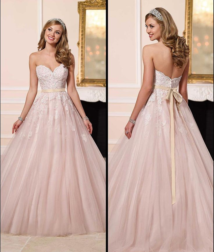 Blush Pink Wedding Dresses 2016 Stella York Romantic Wedding Gowns A Line Sweetheart Neckline Backless With Buttons Bridal Gowns Wedding Designers Wedding Dress Hire From Gonewithwind, $160.81| Dhgate.Com