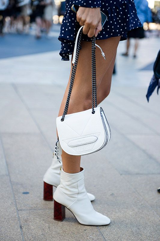 SS16 streetstyle details white ankle boots white min bag  dotted dress