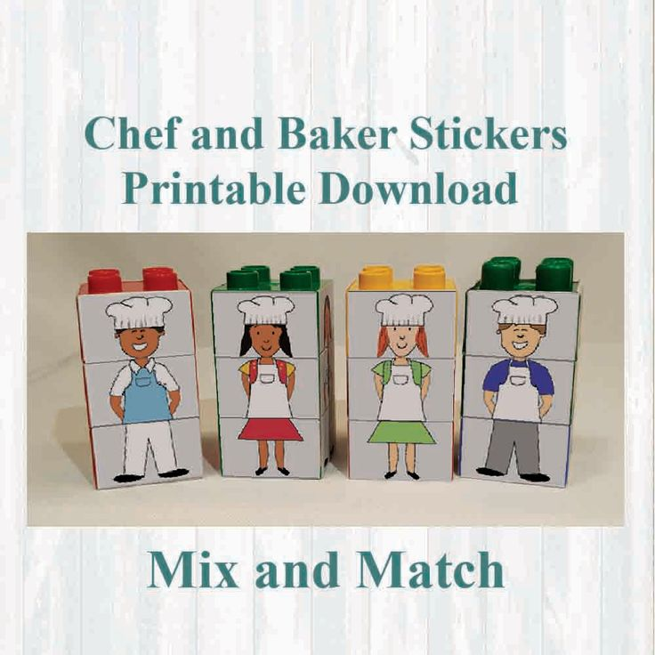 Chef and Baker Stickers, Fridge magnets, Building blocks. Fits on Lego, Instant digital download Printable by MoonGloCreations on Etsy