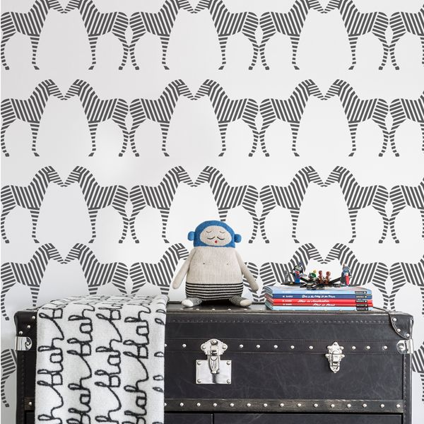 Zebra Wallpaper - perfect in a modern safari nursery! Would make a great accent wall.