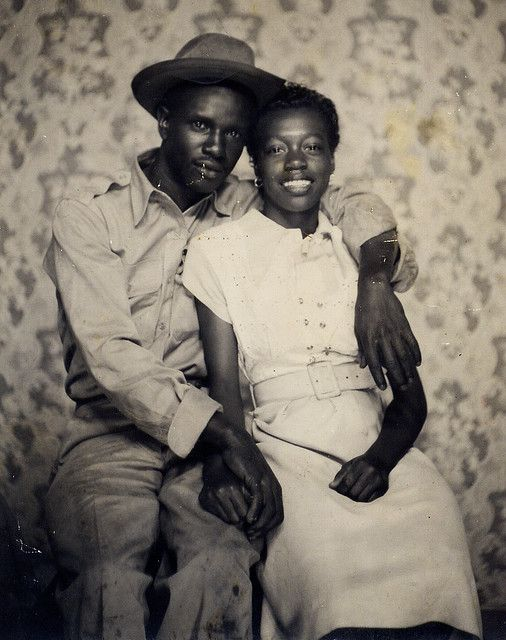 A portrait of two sweethearts, 1940s::