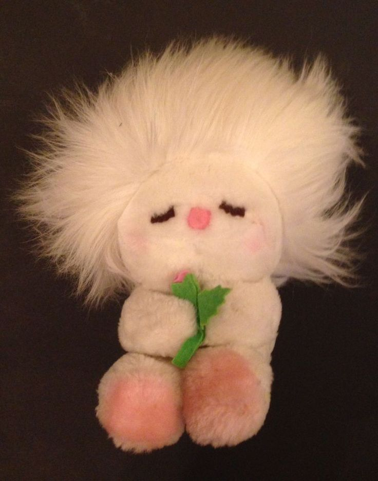 "Vtg Dakin FROU FROU Stuffed Doll Flower 10"", 1982  White Pink Stuffed Animal Toy #Dakin"