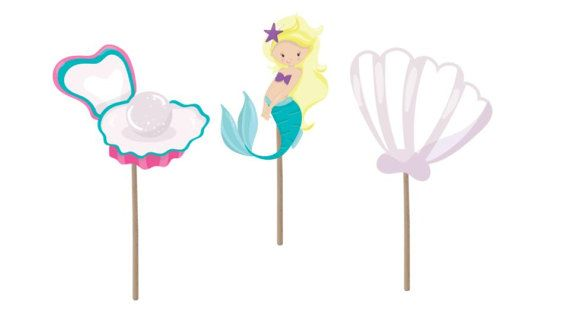 Sirena Cupcake Topper, topper cupcake di compleanno, festa di compleanno di sirena, sirena picconi, compleanno sirena, tema mermaid, sirena decorazioni