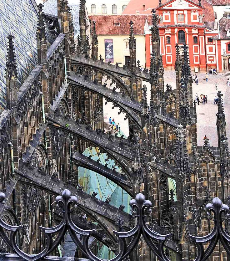 Flying butresses at St. Vitus Cathedral in Prague