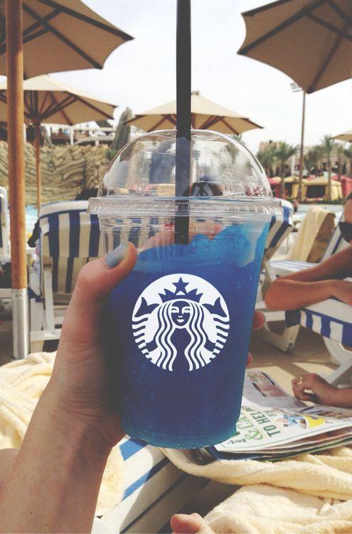 Image de starbucks, blue, and summer