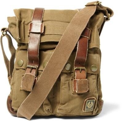 Belstaff Large Leather and Canvas Messenger Bag - Polyvore