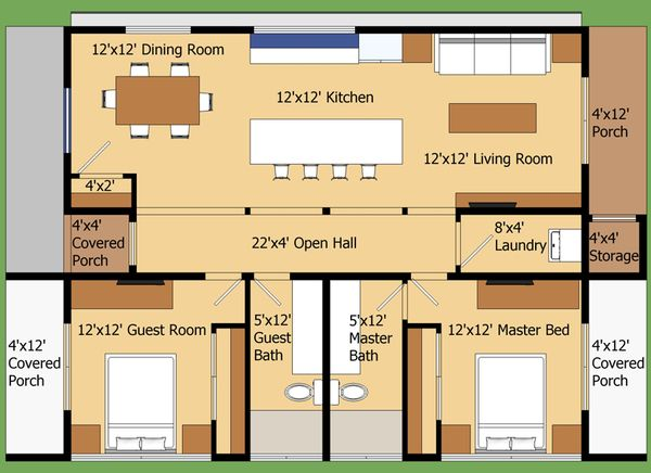 Modern Style House Plan - 2 Beds 2 Baths 960 Sq/Ft Plan #474-9 Floor Plan - Main Floor Plan - Houseplans.com