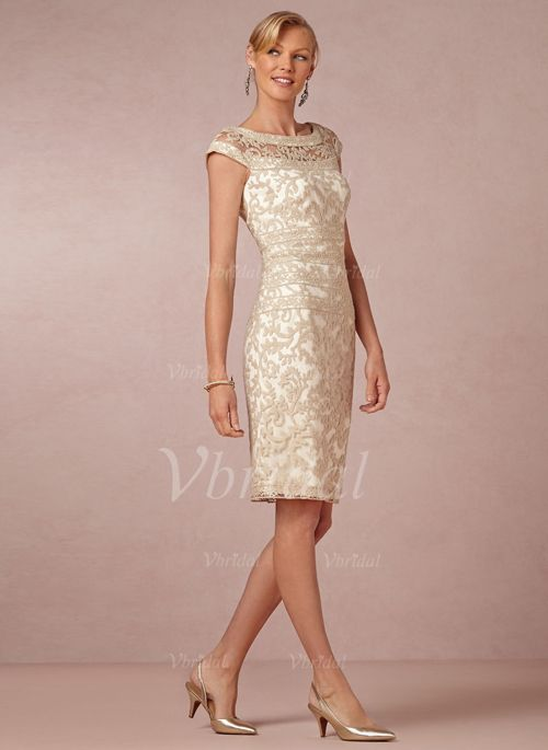 Mother of the Bride Dresses - $123.00 - Sheath/Column Scoop Neck Knee-Length Lace Mother of the Bride Dress (0085055960)