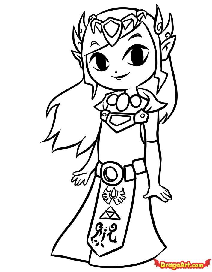 how to draw toon zelda step 8 coloring sheetsadult