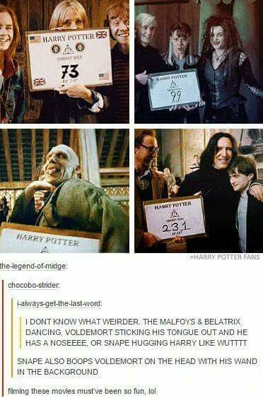 Harry Potter behind the scenes haha!! XDD