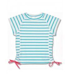 UV shirt aqua met witte strepen