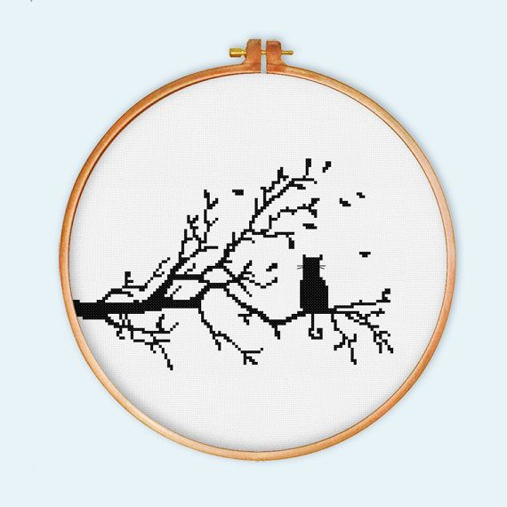 Cat on tree silhuette cross stitch pattern cross by ThuHaDesign