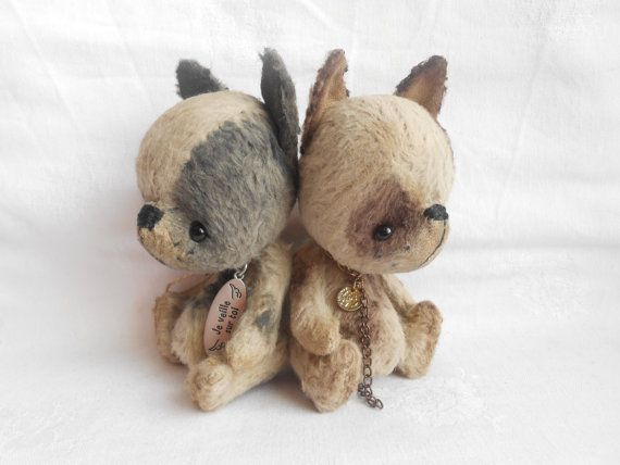 Artist bear little french bulldog   by Sylvie Touzard MADE TO ORDER on Etsy, $135.00