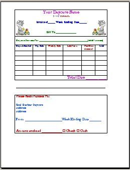 Invoice Form – Daycare Form