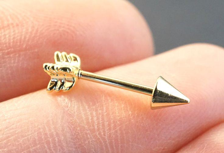 18 Gauge Gold Arrow Cartilage Earring Tragus Helix Piercing