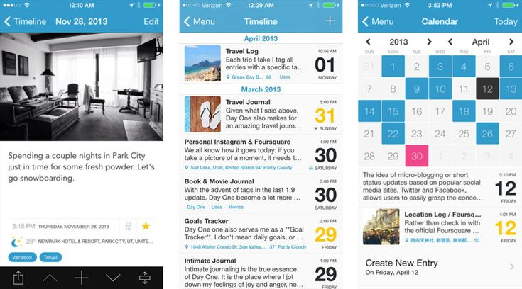 Best journaling apps for iPhone and iPad: Day One Allows interface. You can journal daily and put photos and locations and comments for each day.  Only drawback is that it costs $3.99.  I give it rating of a 7 - Miranda* I found that this app was supported by research on the  therapeutic benefits to journaling especially in the older population http://trace.tennessee.edu article Creativity in Older Adults: A Plethora of Possibilities