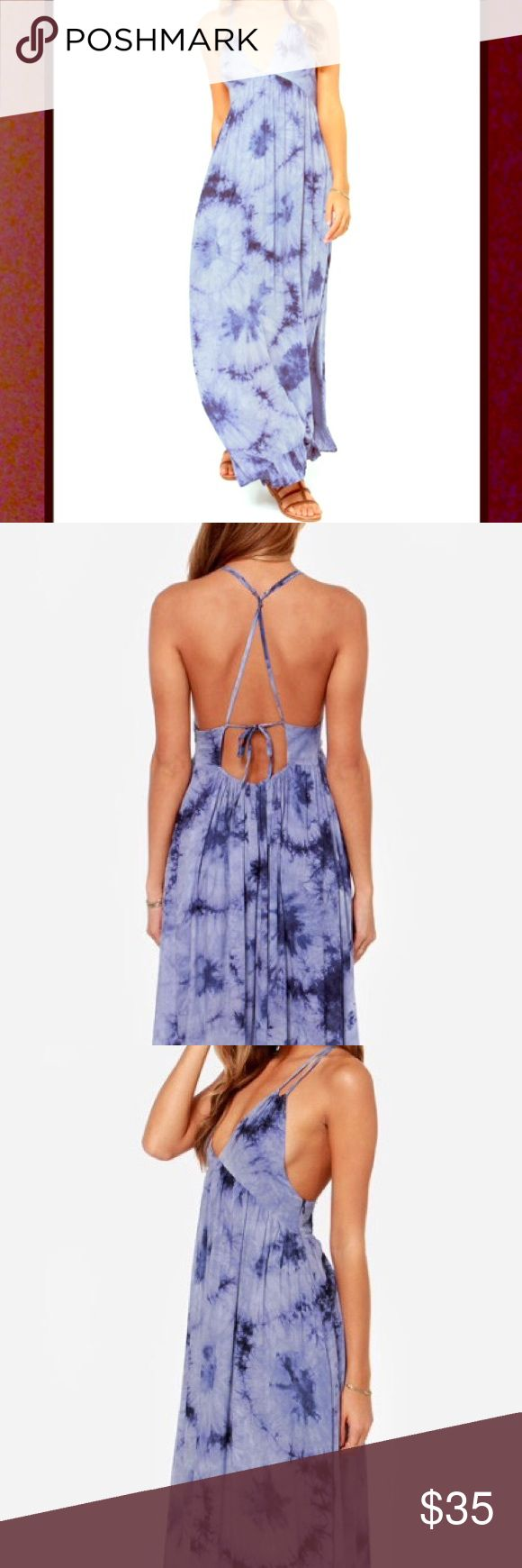 Lulu's into the blue tie dye maxi dress Never worn! Beautiful , long and flowing. Lulu's Dresses Maxi