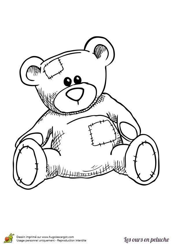 Coloriage Ours En Peluche Teddy Bear Drawing Bear Paintings Teddy Bear Images