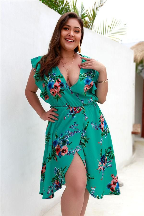 Chicloth Plus Size V-Neck Print Short Sleeves Dress