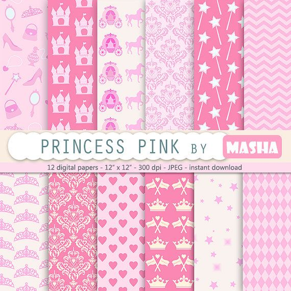 "Princess digital paper: ""PINK PRINCESS digital paper"" printable princess paper for scrapbooking, birthday parties, baby showers, invites"