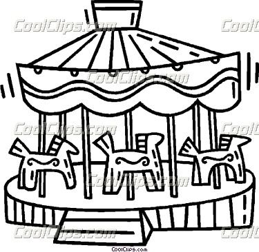 Amusement Park Illustrations Merry go round Vector Clip