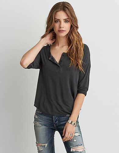Womens Henley Shirts | American Eagle Outfitters | American Eagle Outfitters