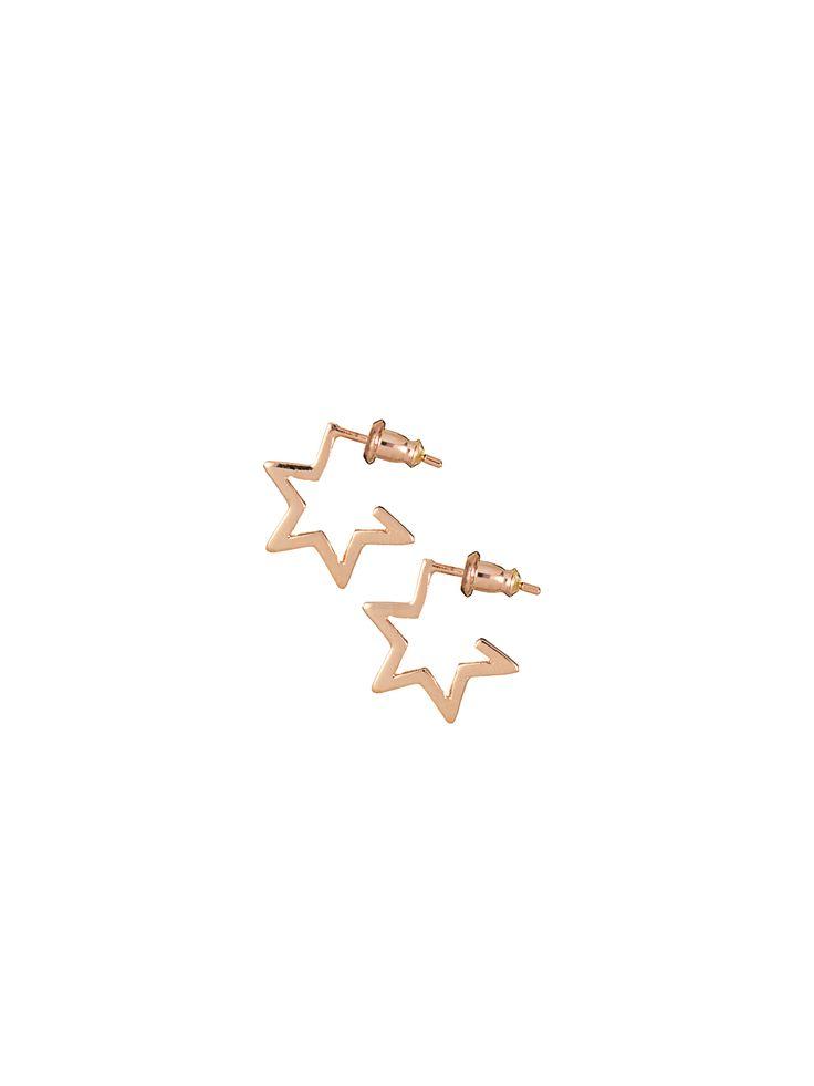 Star Hoops Rose Gold