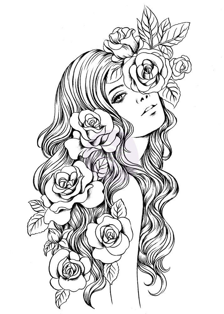 775 best Beautiful Women Coloring Pages for Adults images ...