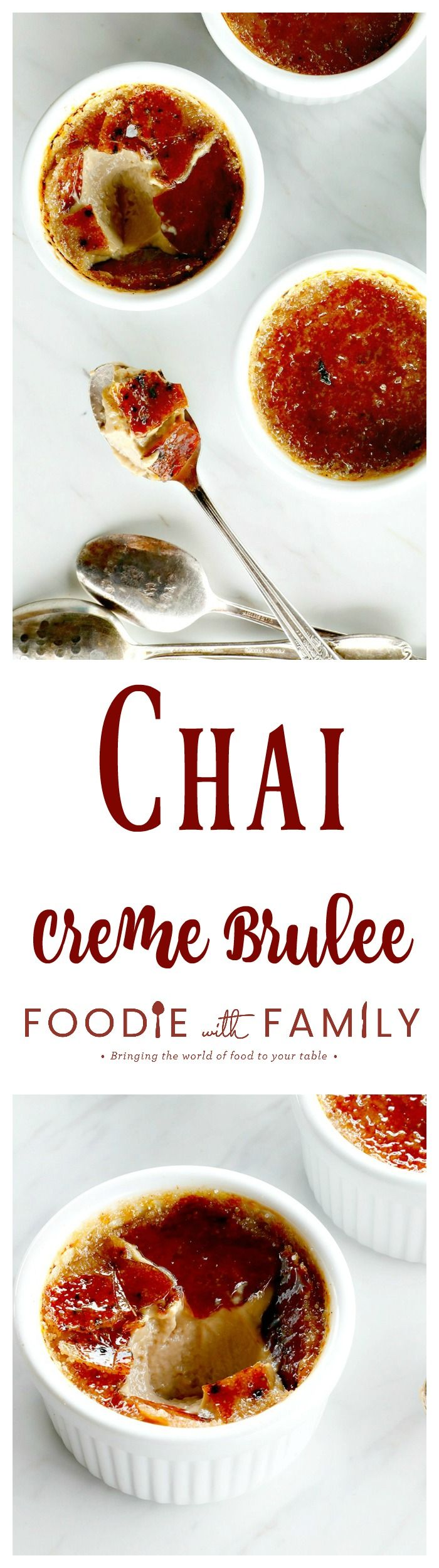 Chai Creme Brulee: the thin layer of crisp burnt-sugar caramel sits on top of a velvety and smooth custard redolent with cinnamon, nutmeg, cardamom, and other spices; it tastes just like a caramel chai latte. #ad #HorizonOrganic @Horizon_organic