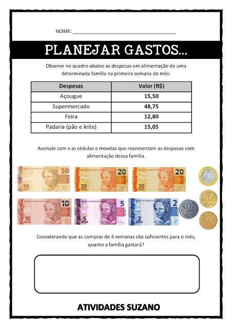 Planejando gastos- Educação Financeira - Atividades Adriana