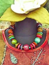 ❖✣✦ CHUNKY LARGE NEW WOODEN BOHEMIAN BEADS NECKLACE HIPPIE TIE DYE FESTIVAL ❖✣✦
