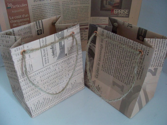Recycled French Newspaper Gift Bags  Set of 2 by LaPommeEtLaPipe, $3.00