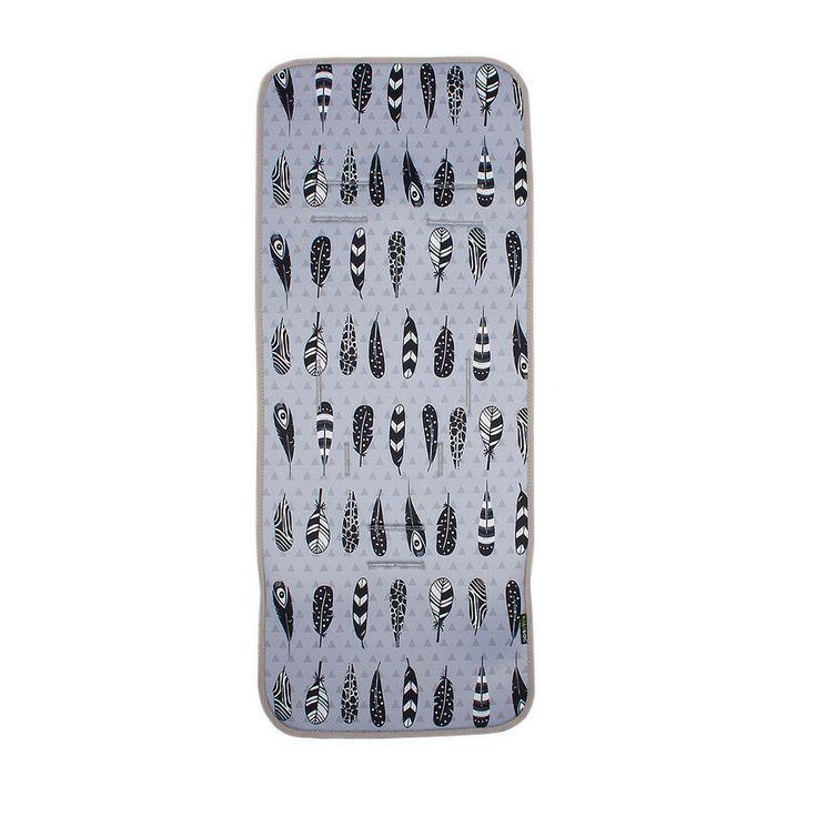 Colchoneta Recta gris con las plumas de los indios #colchonetas #Kiwisac
