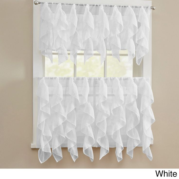 N Chic Sheer Voile Vertical Ruffled Tier Window Curtain Valance and Tier