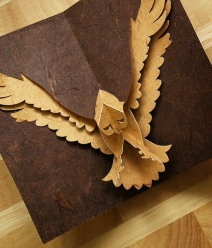 Kirigami Hawk Popup Card Make Yourself by popupcardmaking on Etsy, $3.95