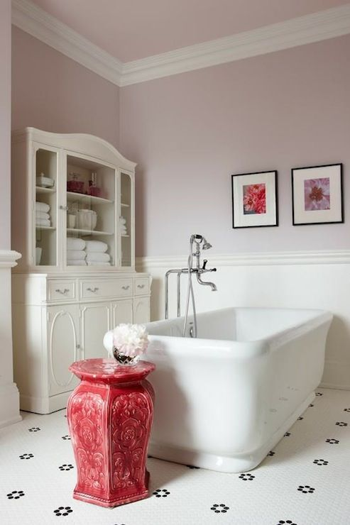 Sarah Richardson Design: Lavender walls paint color, chair rail & beadboard, freestanding tub, red garden stool, ...