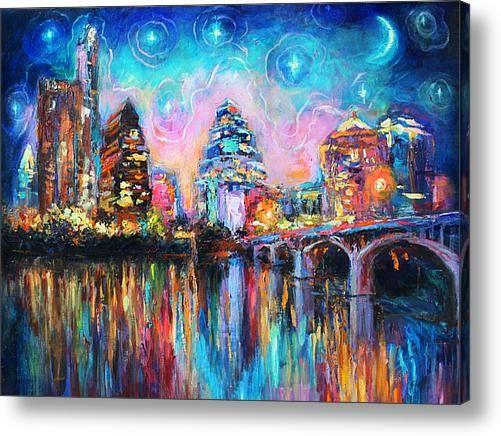 Impressionistic Austin City Skyline Painting Acrylic Print By Svetlana Novikova
