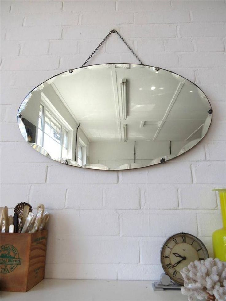 Vintage oval art deco bevelled edge wall mirror frameless for Diy art deco furniture