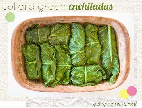 Collard Greens Enchiladas- filled with black beans, veggies & rice...