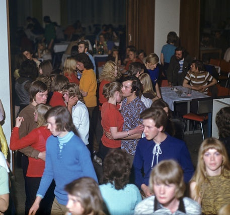 "Young people at the ""Alextreff"" in 1971."