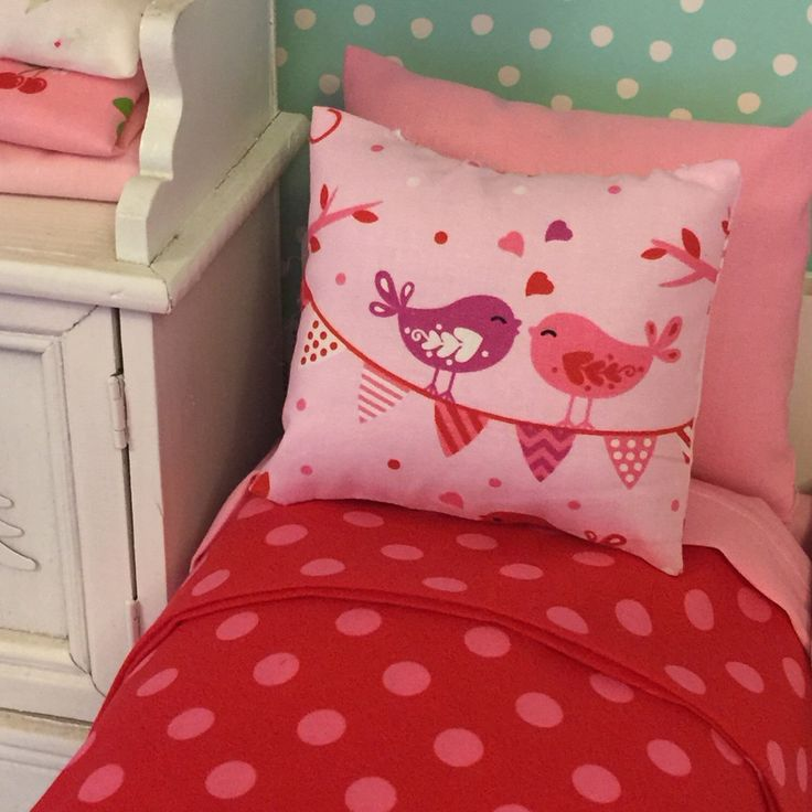 One of a kind bedding set with custom comfort mattress for Blythe/Barbie sized beds.