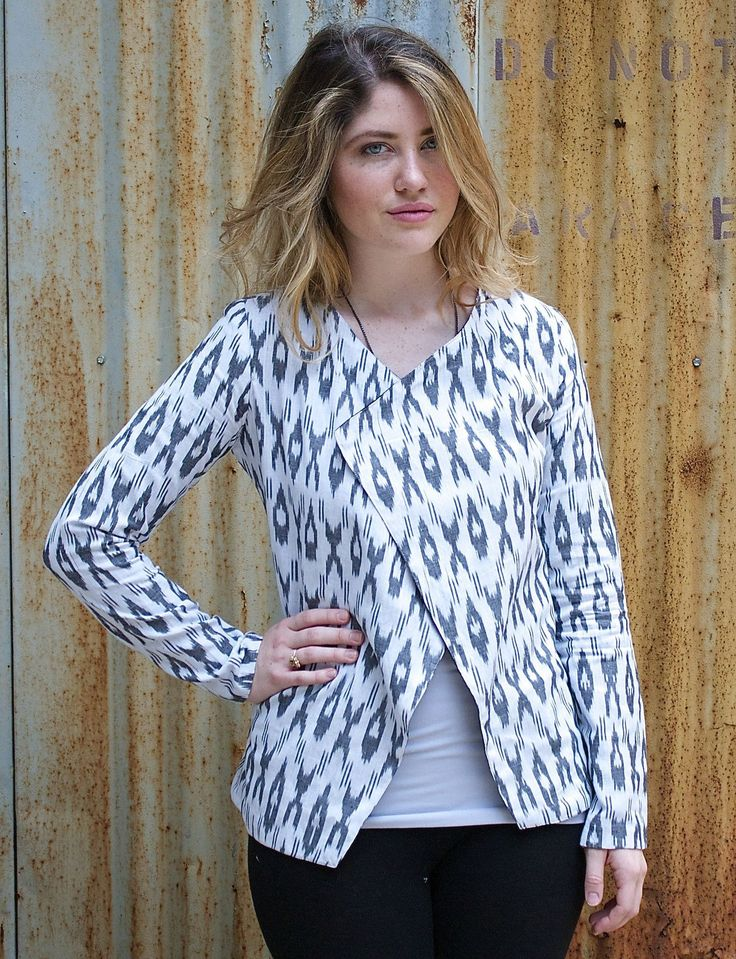Passion Lilie Black and White Handwoven Cotton Ikat Blazer Jacket: Fair Trade & Eco-Friendly