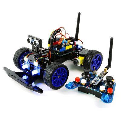 Una descrizione di  Adeept Smart Car Kit for Arduino, Remote Control Car based on NRF24L01 2.4G Wireless, Robot Starter Kit, Arduino Robotics Model, Arduino Learning Kit, un kit progettato attorno ad Arduino R3 e Nano, completo e divertente per imparare Arduino.