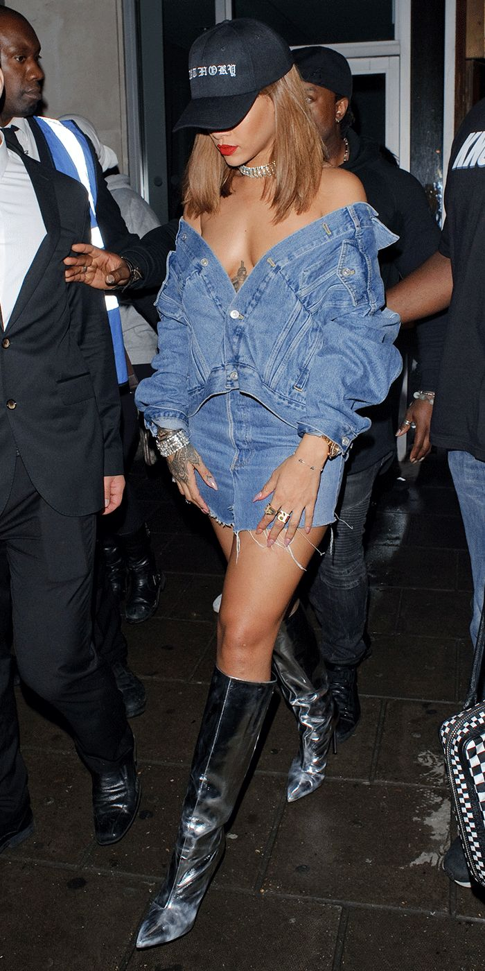 See how the celebrity reinvented the way you style a classic denim jacket. Hint: It's so RiRi.