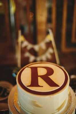 custom made fondant Washington Redskins logo (with dangling feather not shown) for the groom's cake |